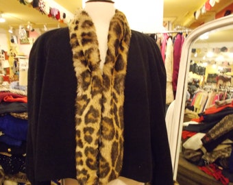1980's Sweater with faux  Leopard  Collar & Cuffs