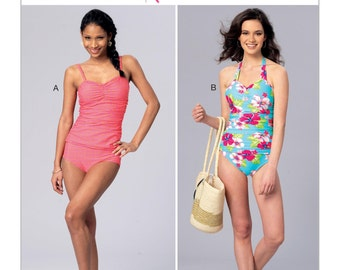 Kwik Sew Pattern K4182 Misses' Ruched Tankini and One-Piece Halter Swimsuit