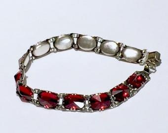 Victorian Edwardian deep RED fire PASTE sterling SILVER closed back bracelet