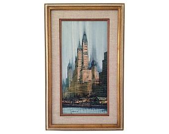 Midcentury Cityscape Oil Painting
