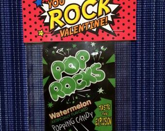 Pop Rocks Bag Topper - Instant Download - Valentine's Day Digital Printable -  Valentine Bag Topper - Kids Valentine - Pop Rocks Valentine