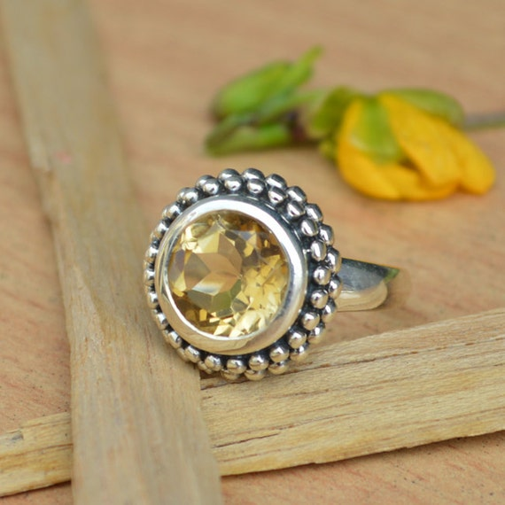 Citrine Ring, Silver Ring, November Birthstone Ring, Luck Energy Ring, Healing Ring, 925 Sterling Silver Bezel Set Ring Size 8
