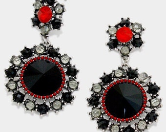 ON SALE Statement crystal earrings, dangles, black and red crystals, black earrings, gift idea.