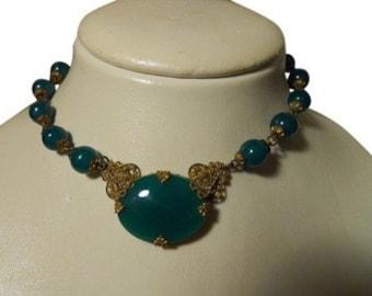 Antique Czech glass choker necklace