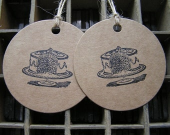 Letterpress birthday cake gift tags on Kraft card - pack of 2 large round