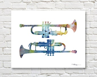 Trumpet - Art Print - Abstract Watercolor Painting - Jazz Music Wall Decor