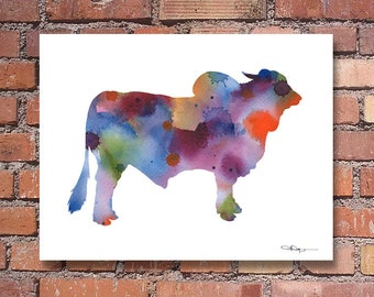 Brahma Bull Art Print - Abstract Watercolor Painting - Wall Decor
