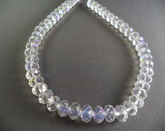Clear Crystal Rondelle Beads - 10mm - 16 Inch Strand