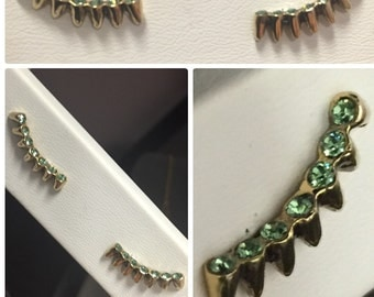 14KT Gold Plated Lash Earrings/Swarovski Peridot Crystals.