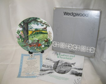 """Wedgwood """"Meadows and Wheatfields"""" Bone China Collectors Plate 1987 - with Box, Certificate and Insert."""
