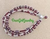 Garnet multi-strand bracelet - January birthstone, devotion, friendship, loyalty, mothers jewelry - DGJ760