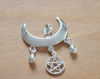Sterling Silver Wiccan Moon Blessings Pendant with Pentagram