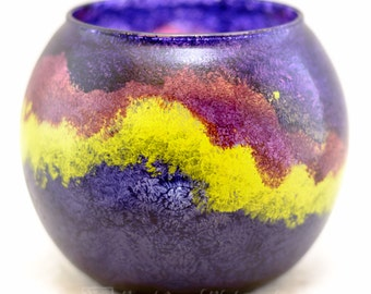 Candle Holder - Sm Rnd 12 oz - Northern Lights Design - Hand Painted