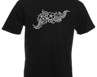 Mens T-Shirt with Henna Pattern with Flowers Design / Ethical Symbol Shirts / Tattoo TShirt Indian Mehandi + Free Random Decal Gift