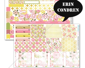 Blush Pink Gold Floral MONTHLY Planner Kit / for Erin Condren Planner / Life Planner Sticker / Monthly Sticker Kit #SQ00217-EC