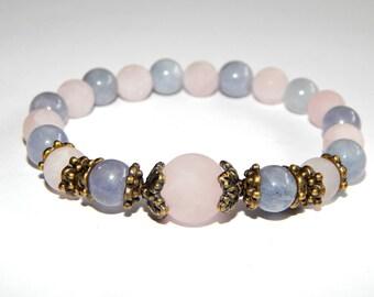 Bracelet  aquamarine and rose quartz romantic