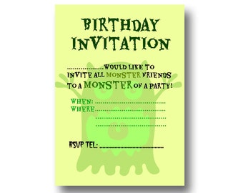 Instant Download and Printable Large Monster Birthday Invitation