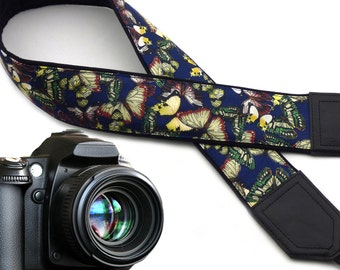 Butterfly camera strap. Dark blue DSLR Camera Strap. Silky camera neck strap. Camera accessories from InTePro