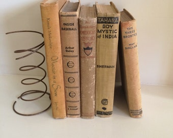 Vintage Shabby Beige Books, Set of  5