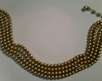 Vintage Gold Pearl Necklace Collar Choker Costume Jewelry