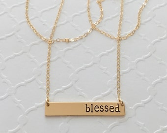 Custom Gold Bar Necklace / Personalized Name Plate Necklace / Religious Christian Custom Gold Bar Necklace / Hand Stamped Blessed Necklace