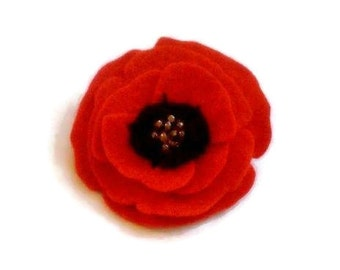 Felt poppy brooch / poppy pin - Remembrance Day poppy