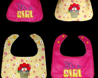 bib birth reversible embroidered girl