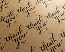 Thank you sticker, 24 round kraft paper stickers, scrapbooking, packaging, party gift wrap