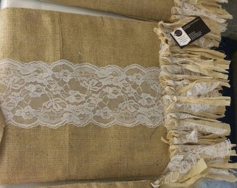 Lace and burlap table runner 72 inches