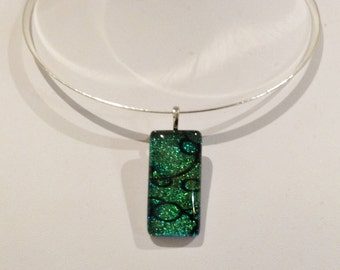 Necklace. Features thick Silver Pated Hoop Choker. Followed by High Quality Diphroic retanguler Pendant.Green/blue