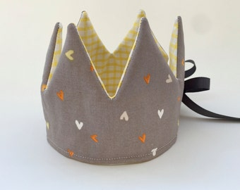Reversible Crown - Fabric crown with little hearts print - Reversible Kids Crown - Baby Gift - Valentine Crown (ready to ship)