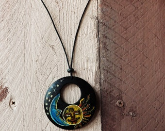 Amity - necklace, genuine leather cord, wood pendant, hand made