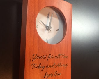 Personalized Clock for the Company, Boss, Teacher, friend.  Birch wood, battery powered.