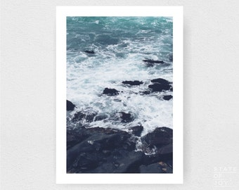 ocean beach photograph - coastal surf decor - rock ledge - wall art - portrait - square prints | LARGE FORMAT PRINT