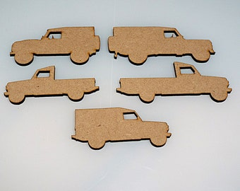 Pk of 5 Mixed Model Landrovers End of an Era  From 70 to 85mm High Quality 3mm MDF multiple pack sizes
