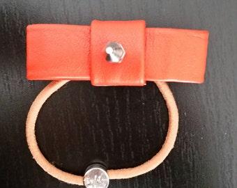 Orange Spike Bow Hair Elastic