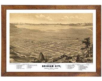 Brigham City, UT 1875 Bird's Eye View; 24x36 Print from a Vintage Lithograph