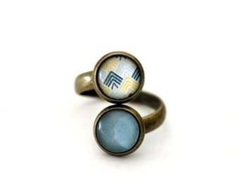 """Small ring double vintage retro cabochon brass """"Turquoise and yellow triangles"""""""