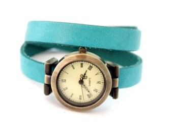 Watch turquoise leather 2 towers with dial bronze brass and figures Romans vintage
