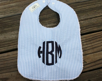Infant/Toddler Bib with Monogram- monogrammed bib, bib and burp cloth set, seersucker, monogrammed burp cloth