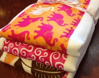 SALE Burp Cloths set of 3 girl elephants