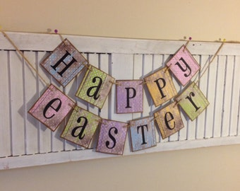 Easter Banner Bunting Garland Sign shabby Chic Cottage Chic Distressed Barn Siding Pastel Letter Cards Cute Photo Prop