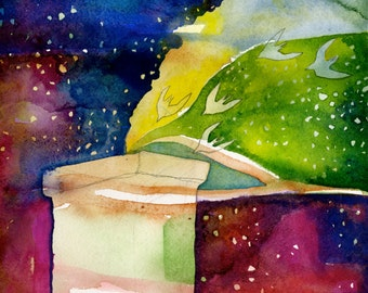 Artist Giclee Print of Water Color Painting by Jenn Rawling. 'Rainbow Night & the Chimney Swifts'