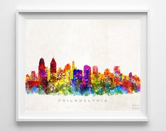 Philadelphia Skyline, Print, Watercolor Painting, Pennsylvania Print, Cityscape, City Poster, Wall Art, Home Decor, Back To School