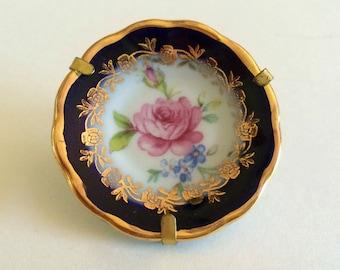 Tiny Miniature France Limoges Gilt-Trimmed Rose Porcelain Plate
