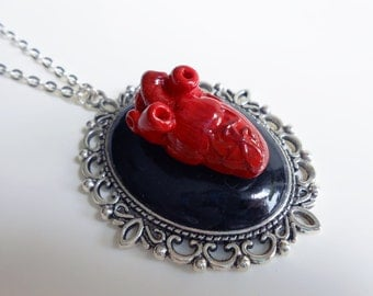 Necklace long red anatomical heart metal silver
