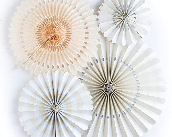 Party Fans in Peach | Peach Pom Wheel | Rosettes | Paper Medallions | White and Ivory Paper Fans | Paper Pinwheel | PGB209