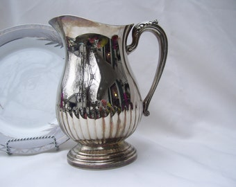 Vintage Silver Plated Water Pitcher with ice lip
