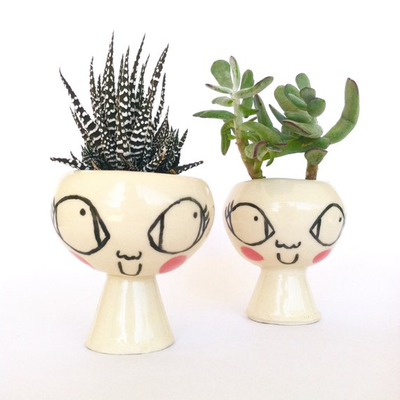 Little Lady Ceramic Planter, Succulent Cactus Planter