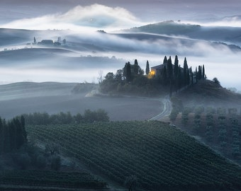 Unfolding Beauty, Tuscany, Italy, Morning Fog, Tuscan Countryside, Farmhouse, Belvedere, Val d'Orcia - Travel Photography, Print, Wall Art